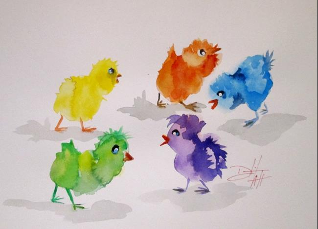 Art: Colorful Peeps by Artist Delilah Smith
