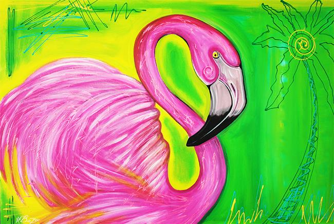 Art: Electric Flamingo by Artist Laura Barbosa