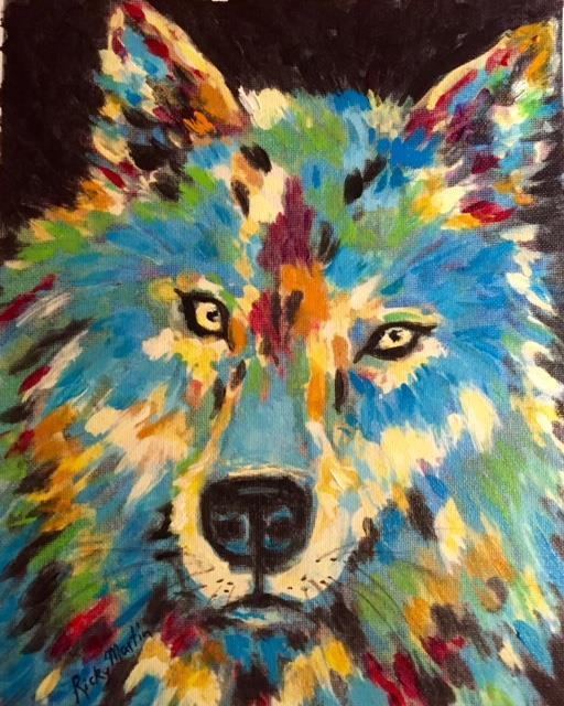 Art: Wolf - acrylic brush stroke enhanced - sold by Artist Ulrike 'Ricky' Martin
