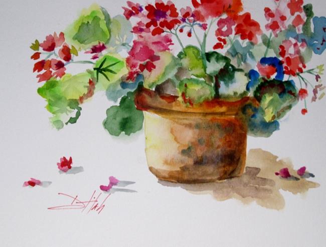 Art: Pot of Geraniums No. 2 by Artist Delilah Smith