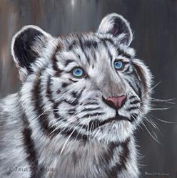 Art: White Tiger Cub by Artist Janet M Graham