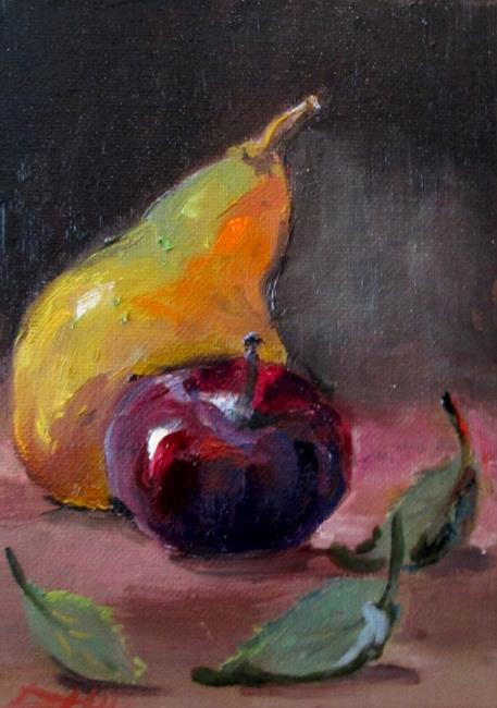 Art: Pear and Plum by Artist Delilah Smith