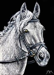 Art: The Grey Eventer  -  SA112 by Artist Monique Morin Matson