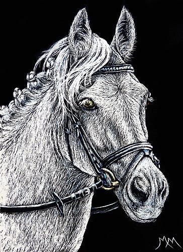 Art: The Grey Eventer - SA112  (SOLD) by Artist Monique Morin Matson