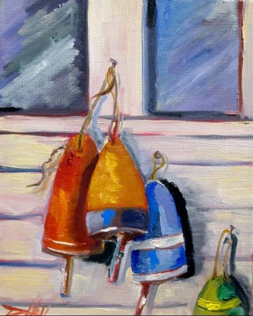 Art: Fish Town, Buoys by Artist Delilah Smith