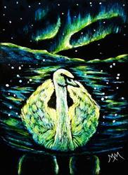 Art: Arctic Swan - SA113  (SOLD) by Artist Monique Morin Matson