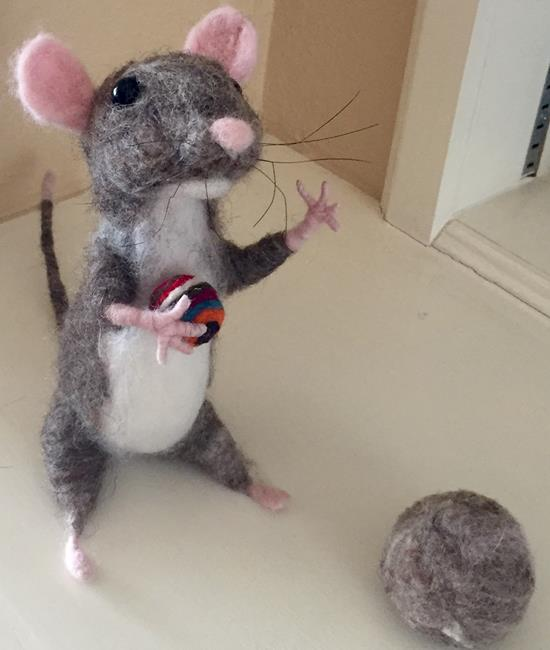 Art: Needle Felted Mouse by Artist Ulrike 'Ricky' Martin