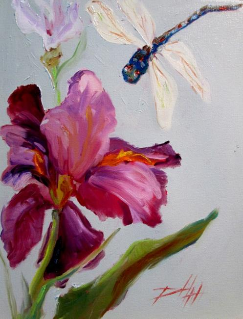 Art: Iris and Dragonfly by Artist Delilah Smith