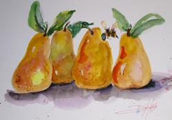 Art: Four Pears and a Bee by Artist Delilah Smith