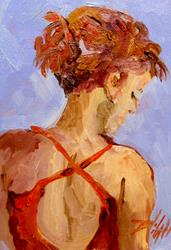 Art: SHe Wore a Red Dress-sold by Artist Delilah Smith