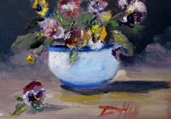 Art: Pansy Still Life-sold by Artist Delilah Smith