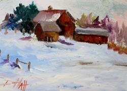 Art: Barn in the Snow by Artist Delilah Smith