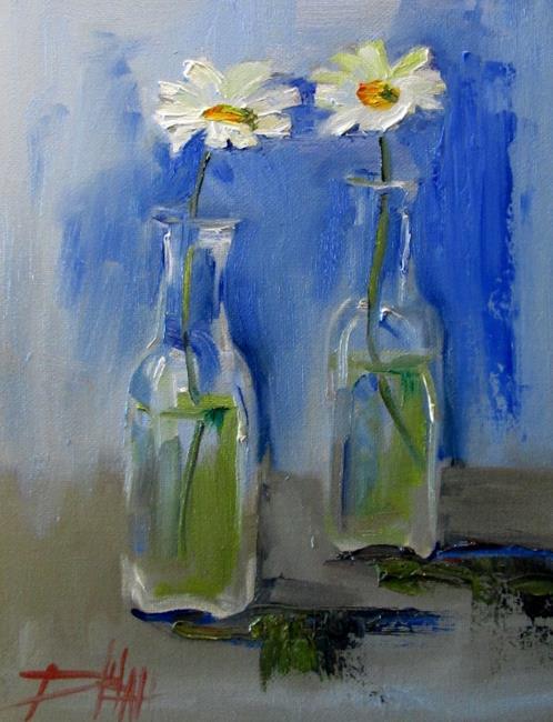 Art: Flowers in a Bottle by Artist Delilah Smith