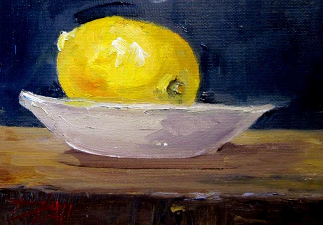 Art: Lemon in Dish by Artist Delilah Smith