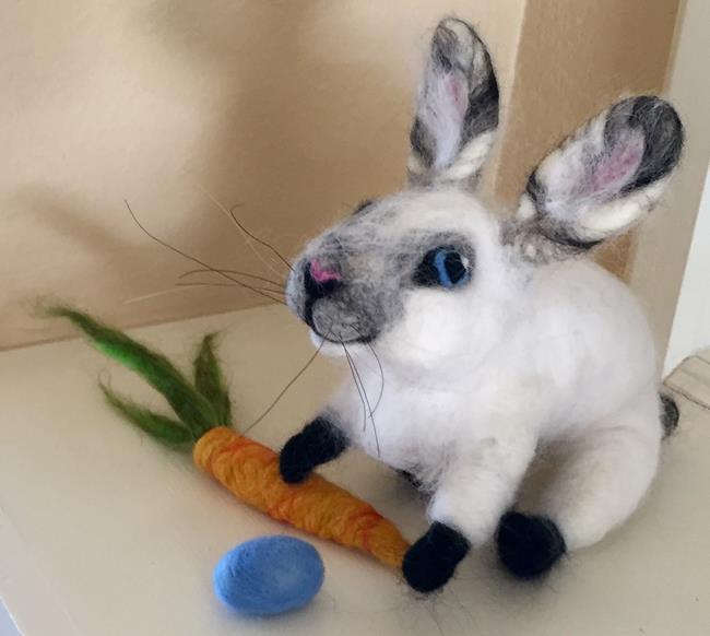 Art: Needle Felted Bunny by Artist Ulrike 'Ricky' Martin