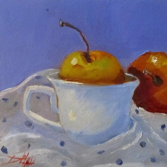Art: Yellow Apple in a Cup-sold by Artist Delilah Smith