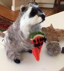 Art: Raccoon - needle felted by Artist Ulrike 'Ricky' Martin
