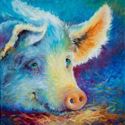Art: BABY'S BLUES PIGGY by Artist Marcia Baldwin
