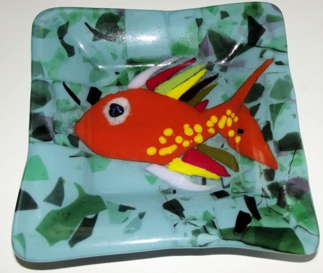 Art: Gold Fish Fused Art Glass Plate by Artist Paul Lake, Lucky Studios