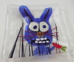 Art: Rabbit Eating Carrot Fused Glass Art Plate by Artist Paul Lake, Lucky Studios