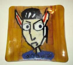 Art: Cartoon Star Trek Spock Fused Art Glass Plate by Artist Paul Lake, Lucky Studios