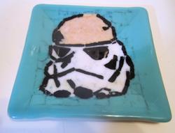 Art: Stormtrooper Star Wars Fused Art Glass Plate by Artist Paul Lake, Lucky Studios