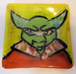 Art: Yoda Star Wars Glass Fused Plate by Artist Paul Lake, Lucky Studios