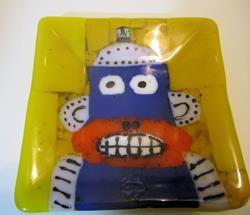 Art: Robot Monkey Fused Glass Plate by Artist Paul Lake, Lucky Studios