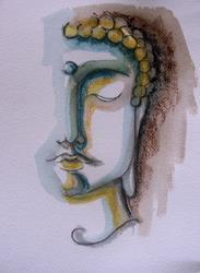 Art: BUDDHA MIXED MEDIA 1 PAINTING 9 X 12 by Artist Cyra R. Cancel