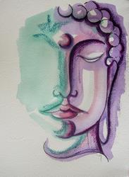 Art: BUDDHA MIXED MEDIA 2 - PAINTING 9 X 12 by Artist Cyra R. Cancel
