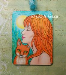 Art: Full Moon Redheads Woman and Fox by Artist Lisa M. Nelson