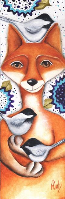 Art: Fox And Chickadees by Artist Deb Harvey