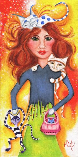 Art: Cat Lady by Artist Deb Harvey