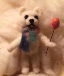Art: Teddy - Needle Felted by Artist Ulrike 'Ricky' Martin