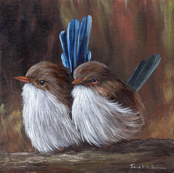 Art: Baby Wrens by Artist Janet M Graham