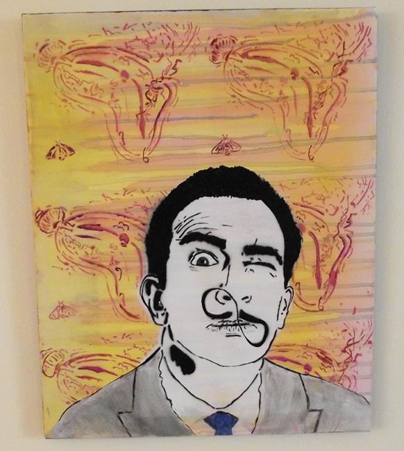 Art: Salvador Dali Melting Clock infinity Mustache by Artist Paul Lake, Lucky Studios