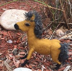 Art: Needle Felted Pony by Artist Ulrike 'Ricky' Martin