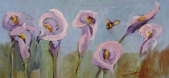 Art: Calla Lilies and Bee=sold by Artist Delilah Smith
