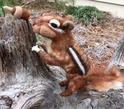 Art: Needle Felted Chipmunk by Artist Ulrike 'Ricky' Martin