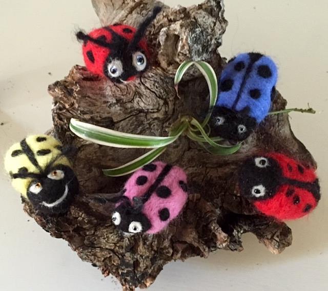 Art: Needle Felted Ladybugs by Artist Ulrike 'Ricky' Martin