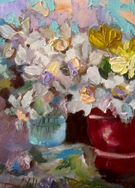 Art: Pot of Spring Flowers-sold by Artist Delilah Smith