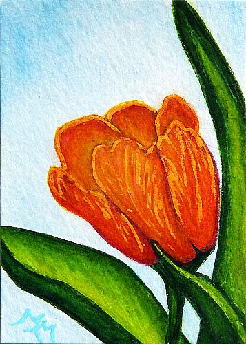 Art: Orange Tulip - MM04  (SOLD) by Artist Monique Morin Matson