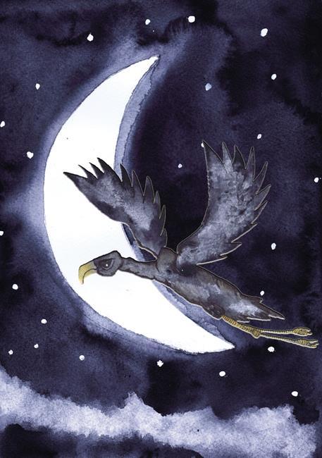 Art: FLYING HIGH moon101 by Artist Dawn Barker