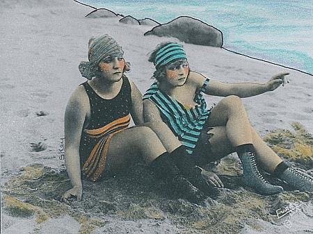 Art: Two Girls At The Beach by Artist Sherry Key