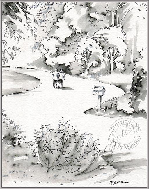 Art: Our Walk ~ Study Sketch for 14 x 11 Painting on Canvas by Artist Patricia  Lee Christensen