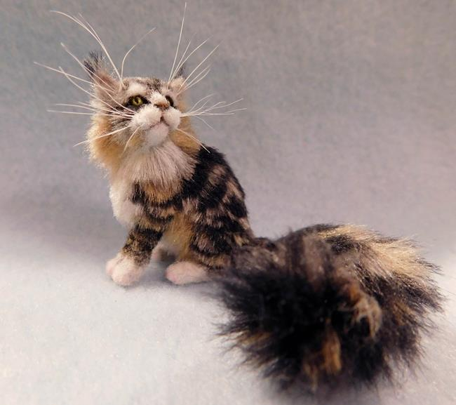 Art: Silk Furred Maine Coon Cat by Artist Camille Meeker Turner