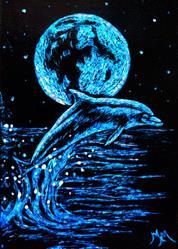 Art: Blue Dolphin - SA115  (SOLD) by Artist Monique Morin Matson