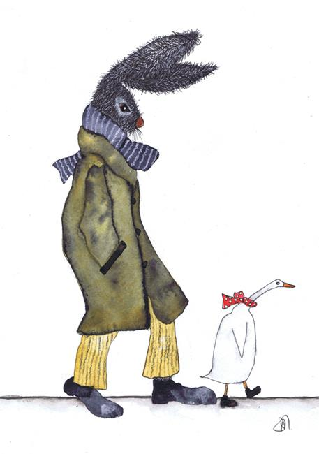 Art: THE HARE AND THE DUCK h3301 by Artist Dawn Barker