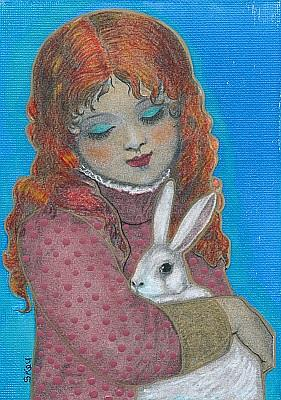 Art: Red Headed Girl and White Rabbit-Sold by Artist Sherry Key