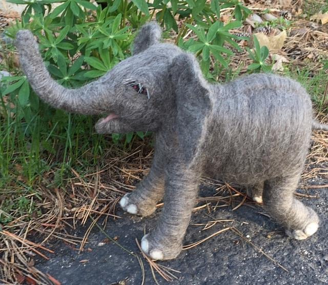 Art: Needle Felted Baby Elephant by Artist Ulrike 'Ricky' Martin